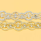 1 Yard Clear Crystal Rhinestone Applique Trim Bridal Costume Silver Gold Chain