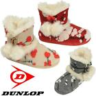 Ladies Slippers Womens Dunlop Boots Ankle Winter Faux Sheepskin Fur Booties Size