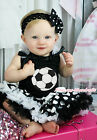 World Cup Football Sports Black Top White Dots Pettiskirt Girls Outfit Set NB-8Y