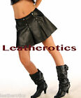 Genuine leather kilt style skirt open panels snap buttons 1255