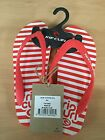 Rip Curl Branded Women's Flip Flop's Beach Shoe's Baby Stripes Eva Red/White F10