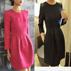 Spring Outfit Stereo Convex Pattern Slim Long Sleeve Clubwear Cocktail Dress
