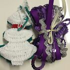9 Metres Purple Theme Ric Rac Sequins & Grosgrain And 9 Crochet Christmas Trees