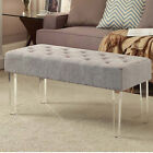 Bench Ottoman with Upholstered Tufted Seat and Acrylic Legs