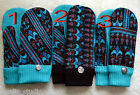 HANDMADE recycled wool sweater MITTENS, Fleece Lined, Turquoise Black