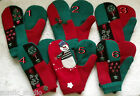 X-MAS CHRISTMAS HOLIDAY HANDMADE WOOL recycled sweater MITTENS, Fleece Lined