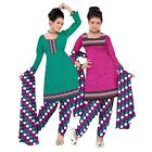 Triveni Picturesque Printed Polyester Salwar Kameez With Dual Tops