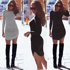Womens Casual Party Clubwear Long Sleeves Stretch Bandage Mini Dress Long Top