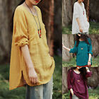Women Loose Long Sleeve Cotton Linen Crew Neck Tops Casual Shirt Blouse S-XXL