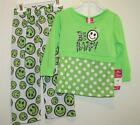 New Girl's Light-Weight Bright Green BE HAPPY Smiley Face Pajamas 12M, 24M, 2T