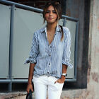 Sale Women Turn-down Collar Vertical Striped Casual Shirt Stylish Ladies Blouse