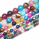 "6-14mm Multi-Color Stripe Agate Round Loose Beads 15"" sf13"