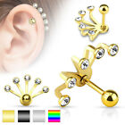 Fan Effect Gem Tragus Cartilage Upper Ear Piercing Stud Top Earring 16ga 1.2mm