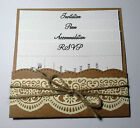 vintage shabby chic LACE POCKET WALLET INVITATION WITH 4 INSERTS
