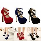 New Fashion Women's Sexy High Heels Platform Strappy Buckle Stiletto Shoes Size