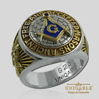 UNIQABLE A.F.A.M MASONIC STERLING SILVER 925 MASON 18K GOLD PLD FREEMASON RING