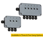IP66 Weatherproof Outdoor Push Switch Box with Neon in 3 Gang and 5 Gang