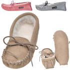 Lambland Childrens Suede Moccasin Slippers with Soft Suede Sole - Pink, Beige
