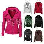 Women Zipper Coat Motorcycle Jacket Hooded Sweatshirt Sweats Long Sleeve S-XL