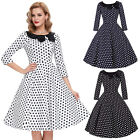 3/4 Sleeve Summer Housewife Swing Pinup Polka Dots Vintage Tea Dress