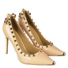Faux leather Classy Pointy Toe Gold studded High Heels Stilettos Pumps Size H158