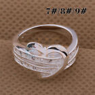 New Silver plated SStering Wedding Ring Rhinestone Women US Size 7/8/9 Rings