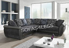 New Large Shannon Faux Leather & Fabric Corner Sofa Black Grey Foam Seats Cheap