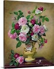 Premium Thick-Wrap Canvas Wall Art entitled Roses and dahlias in a ceramic vase