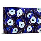 Solid-Faced Canvas Print Wall Art entitled Blue Turkish Evil eyes ceramic beads