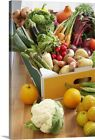 "Canvas Art Print ""Cardboard box of assorted vegetables on kitchen counter"""
