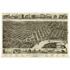 Poster Print Wall Art entitled Vintage Birds Eye View Map of Montgomery, Alabama