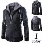 Brando New Men's Motorcycle Style Biker PU Leather Hoodie Jacket - Detach Hood