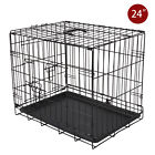2-Door Portable Dog Pet Cage Collapsible Metal Crate Kennel House Playpen Black