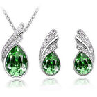 Women Pendant Necklace Earrings Bridal Crystal Fashion Wedding Jewelry Sets Hot