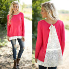 NEW Jump Long Sleeve Lace BLOUSE Women Lady Loose T Shirt Sweater Tops Pullover