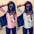 New Womens Loose Chiffon Tops Long Sleeve V-neck Ladies Shirt Casual Blouse