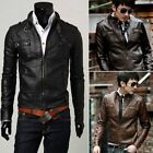 BRANDO Men's Leather Coats Korean Slim Fit PU Leather Short Jacket New