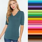 Active Basic V Neck ELBOW Length 3/4 T Shirt Top Plus Size XL/1X/2X/3X FREE SHIP