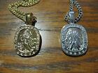 "Gold Plated St Christopher Protector 1"" Charm Necklace 24"" Chain"