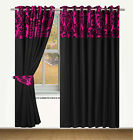 RING TOP FULLY LINED PAIR EYELET READY MADE CURTAINS BAROQUE DAMASK BLACK PINK