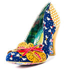 Irregular Choice Make My Day Womens Fabric Navy Multicolour Heels
