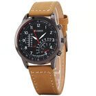 Curren Men Brown Leather Strap Stainless Steel Case Quartz Analog Wrist Watch