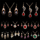 Fashion Jewelry Set Women Lady Gold Plated Crystal Necklace Earrings Wedding New