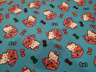 """Hello Kitty in Tea Cups Toss on Blue Flannel Cotton Fabric BTY x 43""""w"""