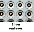 """Clear Cure Real Eyes, ultra realistic adhesive eyes. 6mm 1/4"""" 3 colors"""