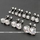 3-10mm Round Cubic Zirconia CZ Crystal White Gold Plated Earring Ear Stud Unisex