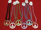 "Multi-Strand Glass Seed Bead Genuine Shell Charm Peace Sign Necklace 17.5"" - 19"""