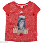 Girls size 5  6 or 7 SMOOTH FRONT Red KITTEN Christmas Tee t-shirt NEW Cat