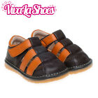 Boys Infant Toddler - Leather Squeaky Shoes Sandals - Brown and Orange