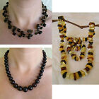 BLACK CHERRY or MULTICOLOR AMBER & STERLING SILVER HANDMADE BEAD NECKLACE BEADED